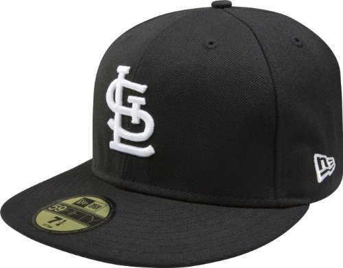 MLB St Louis Cardinals Black with White 59FIFTY Fitted Cap, 7 3/8 (59fifty Era Cardinals New Cap)