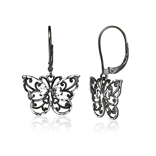 Black Flashed Sterling Silver Two-Tone Diamond-cut Filigree Butterfly Dangle Leverback Earrings