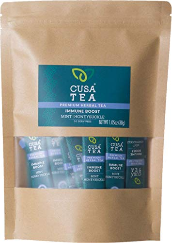 Cusa Tea: Immune Boost Herbal Tea – Immune Support Tea for Cold and Flu Relief – Refreshing Mint Tea Flavor – No Sugar or Artificial Flavors – Ready in Seconds – Hot or Iced (30 Servings)
