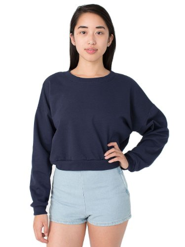 Fleece Cropped Pullover - American Apparel Women's California Fleece Cropped Sweatshirt Size OS Navy