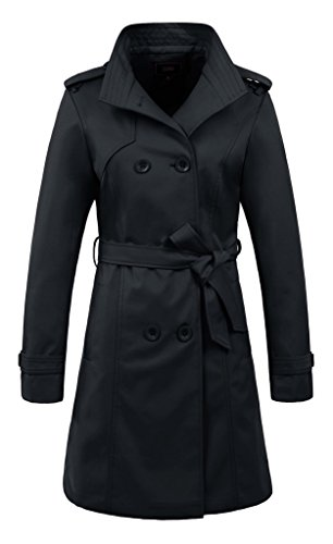 Belted Satin Trench Coat (ZSHOW Women's Long Dress Jacket Trench Coat Lapel Jackets With Belts(US L)Black)