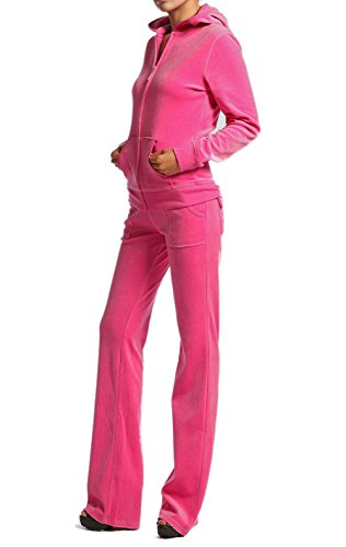 Velour Classic Hoodie Sweat Suit Jacket and Pants Set Velvet Tracksuit with Pockets (2XL, Hot Pink)