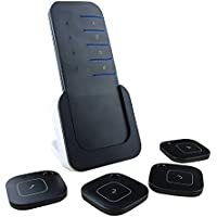 SeeKey Electronic Wireless Key Finder, Key Detector with 80dB Loud Beep, Key Tracker Locator, Remote Control, 1 Transmitter with Base Support and 4 Receivers,Black