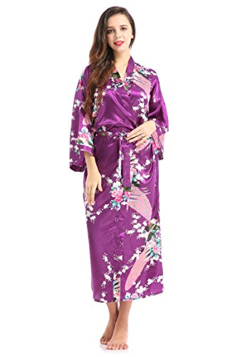 Lilywei Women's Kimono Robe With Pockets Floral Peacock Design For Wedding and Maternity delivery(Purple,XL)