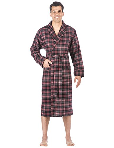 Mens Premium Flannel Robe - Plaid Burgundy/Grey - (Flannel Robe)