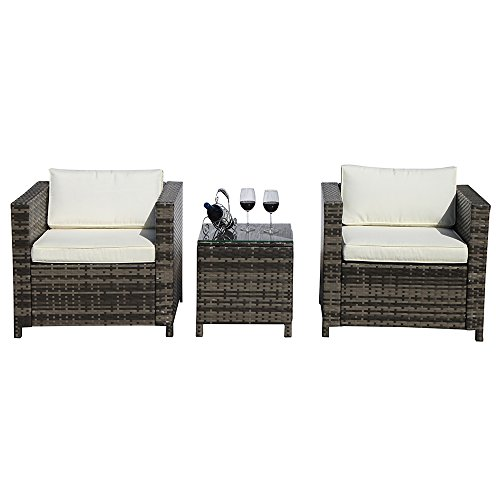 PATIOROMA Patio Conversation Set,Grey Rattan PE Wicker Patio Furniture Bistro Sets with Two Single Chairs & Glass Coffee Table, White Cushion, Steel Frame