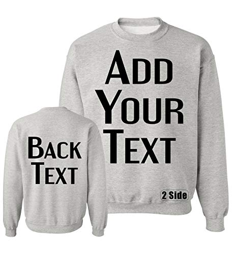 TEEAMORE Men Women Custom Crewneck Sweatshirts, Add Your Text, Team Name Number Ash Grey