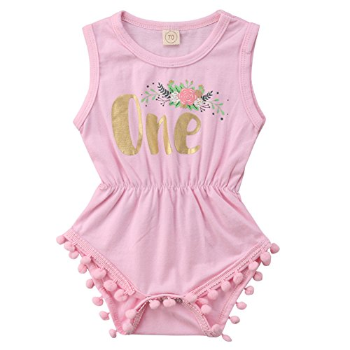 (ONE'S New Baby Girls Summer Floral First Birthday Bodysuit Romper Outfits (18-24 Months, Pink) )