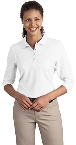 Port Authority Ladies Silk Touch 3/4-Sleeve Polo, White, Large