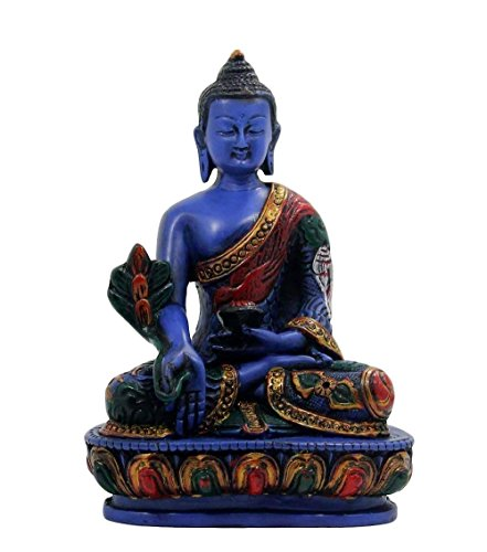 Healing Lama - Medicine Buddha. Handmade 5.5 Inches Tall Multicolor Blue Hand Painted Buddha Figurine Sculpture Statue for Peace and Relaxation.