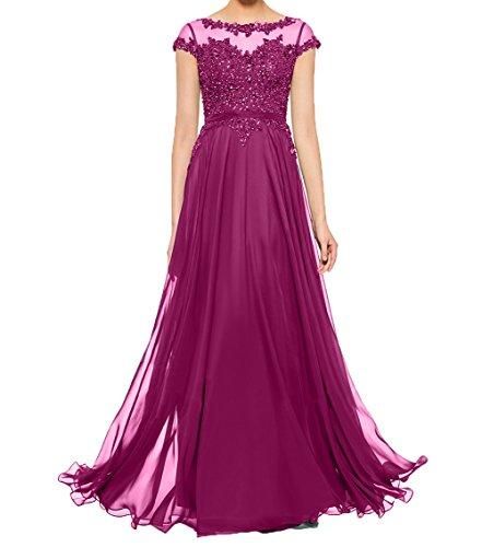 Damen Ballkleider Abendkleider Brautmutterkleider Fuchsia Chiffon mit Partykleider Charmant Elegant Kurzarm Spitze Dunkel Rwqnd1