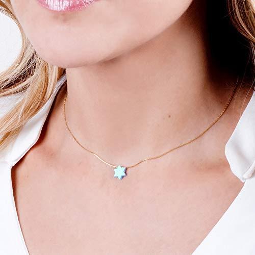 (Blue Opal David Star Minimal 14K Gold Filled Choker Necklace - Magen David Collar - Length: 13.5 inch + 3 inch Extender)