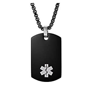 Stainless Steel Black Plated Medical Alert ID Necklace for Men Womens,Chain 24inches -Free Engraving