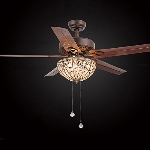 RainierLight Classical Crystal Ceiling Fan Lamp LED Light for Bedroom/Living Room Hotel/Restaurant with 5 Premium Metal Reversible Blades Remote Control 48 Inch by Rainier Light