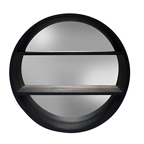 ROUND MIRROR W/SHELVES by Haven Home Décor