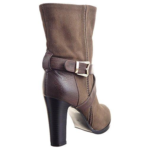 Sopily - Scarpe da Moda Stivaletti - Scarponcini Stiletto al polpaccio donna fibbia metallico Tacco a blocco tacco alto 9.5 CM - soletta sintetico - foderato di pelliccia - Khaki