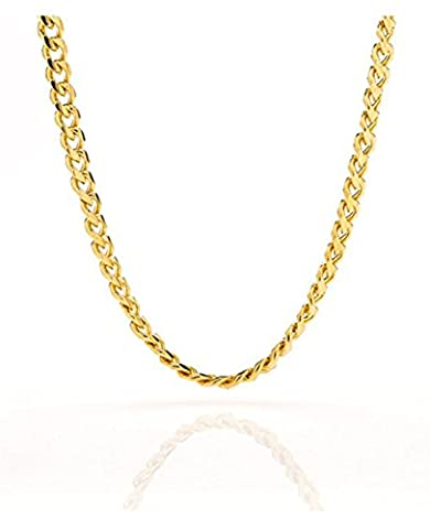 Cuban Link Chain - 5MM Round, Smooth, 24K Gold Filled Necklace, Hip Hop Fashion Jewelry for Men, Women, Tarnish Resistant, Comes in a Box, Guaranteed for Life, Choker/Long 18-30