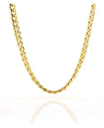 Hip Hop Fashion Jewelry - Cuban Link Chain - 5MM Round, Smooth, 24K Gold Filled Necklace, Hip Hop Fashion Jewelry for Men, Women, Tarnish Resistant, Comes in a Box, Guaranteed for Life, Choker/Long 18-30
