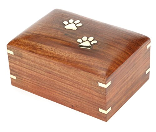 Hind Handicrafts Rosewood Pet Urn Peaceful Pet Memorial Keepsake Urn, Photo Box Cremation Urn for Dogs,Cats, Keepsake Urns for Ashes, Wooden Box Urn (Medium : 7.5