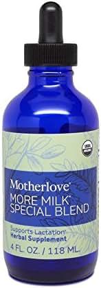 Motherlove - More Milk Special Blend, Herbal Breastfeeding Supplement w/Goat's Rue, Supports Mammary Tissue Development & Breast Milk Supply, Traditional Liquid Tincture with Organic Herbs, 4 oz.