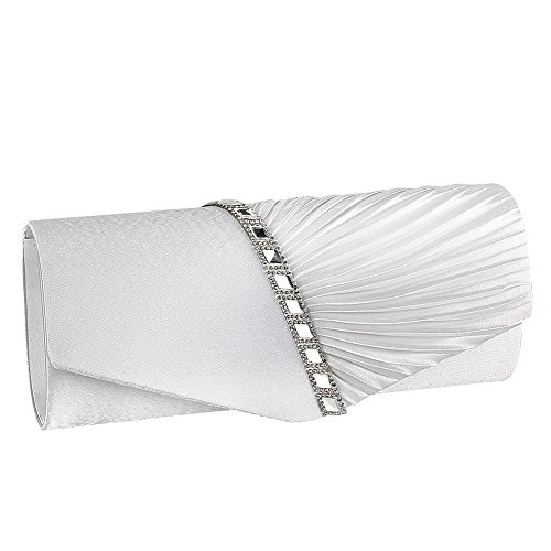 Womens Handbag Pleated JIAN NA YA Studded Satin Clutch Crystal White Evening Evening Clutch qBBER0