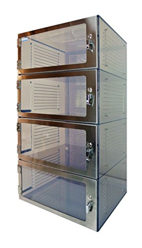 Four-Door Desiccator Cabinet Clear Acrylic, 24Wx18Dx64H in. with Gas ports, Racks & Shelves