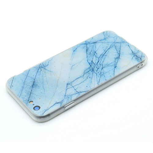 Coque Cover iPhone 6 Plus / 6S Plus, IJIA Ultra-mince Motif Marbre Naturel Rock Bleu Clair PC Dur et Les TPU Doux (2 en 1) Plastique Silicone Hard Bumper Case Cover Shell Coque Housse Etui pour Apple
