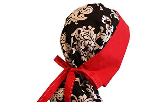 Red Scrub Hat (Surgical Scrub Hat Cap Ponytail Black Damask)
