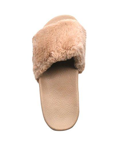 Sandals Slip Flat Slide Shoes Camel Indoor Slipper Fluffy Plush Fur Cozy Womens Non on Soft Slip Toe QPLUS Open Faux xqXRvWY8