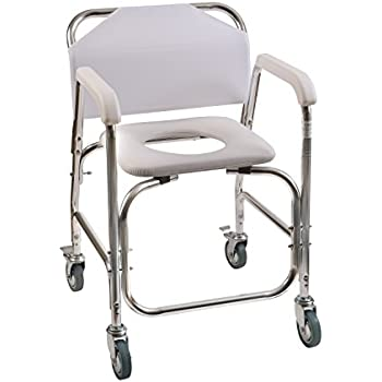 Duro-Med Shower Chair With Wheels, Commode Chair and Padded Toilet Seat, Shower Transport Chair, White