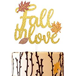 Glitter Fall In Love Cake Topper Autumn Wedding Bridal Shower Engagement Party Maple Leaves Decoration
