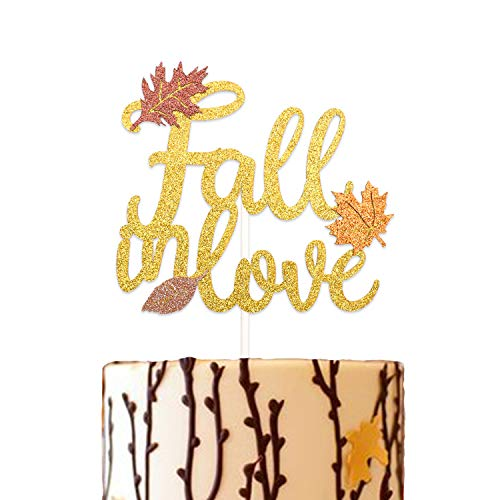 Glitter Fall In Love Cake Topper Autumn Wedding Bridal Shower Engagement Party Maple Leaves Decoration]()