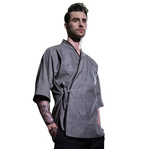 Men's Japanese Chef-Jacket 3/4 Sleeve Kimono Cooking Soft &Breathable Chef Coat Gray