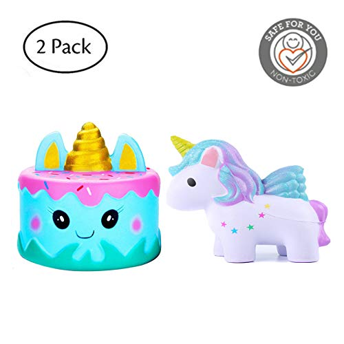 Fanxieast Jumbo Squishies Slowly Rising Squeezed Kawaii Star Unicorn & Cream Slimy Scent Charm Wrist Strain Relief Toy (A, 2 Pack)