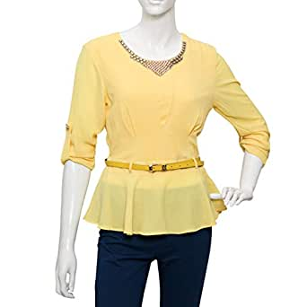 Damacseno Yellow Mixed Round Neck Ruffle & Peplum Top For Women