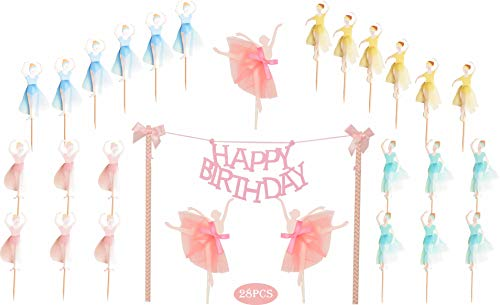 MEANT2TOBE Ballerina Birthday Cake Bunting Topper with Pink Bows and Straws with Pink Dress- Dancing Girl Cupcake Toppers-Party Favors Birthday Party Decoration for Girls 28PCS]()