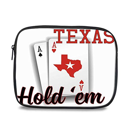- Poker Tournament Decorations Durable iPad Bag,Texas Holdem Theme Pair of Aces with Map Winning Hand Decorative for iPad,10.6