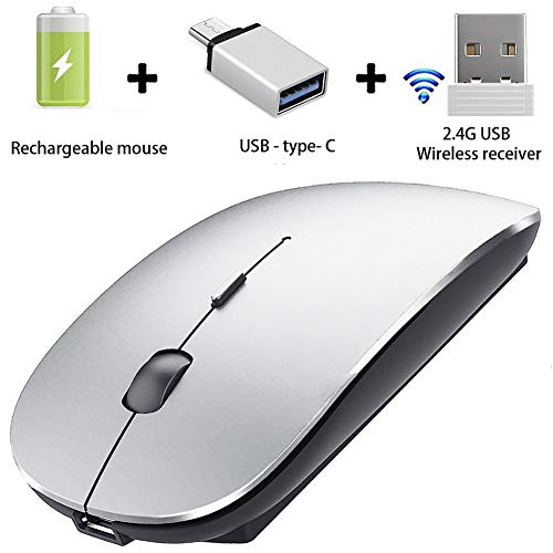 Wireless Mouse for MacBook Pro MacBook Air Mac Laptop Notebook Windows (Silver Black)