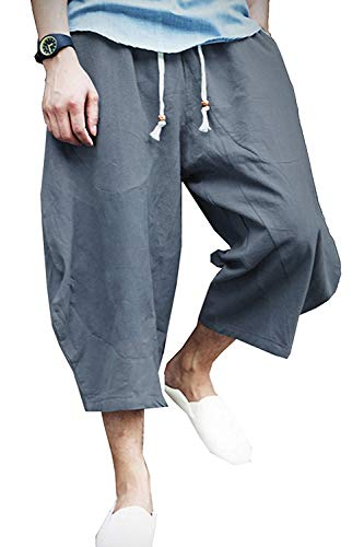 New Pants Mens Capri - KAMUON Mens Casual Baggy Cotton Linen Pocket Lounge Harem Pants Beach Long Shorts (US XL = Asian Tag 4XL : Waist 37