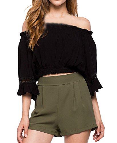 Shirts Noir Tops Blouse Couleur T Femme Haut Col Flare Mousseline Bateau Plisse Sleeve Unie Et Chemisiers w8ZqRRT