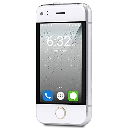 Hipipooo Unlocked Mini Cool Smart Phone 2.4 inch Android Phone 5.1 Os Dual Core Cell Phone (white)