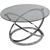 Sagebrook Home 12393-01 Round Coffee Table, Kd, 31.5 X 31.5 X 18.25, Clear/Silver