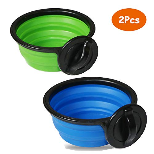 2pcs Collapsible Dog Bowls Large BPA Free, Food Grade Silicone Portable Travel Pet Feeding Watering Supplies for Outdoor Use, Pup Cat Bulldog Lab Pug Dish Cups Feeder for Crate Cage, Dishwasher Safe ()