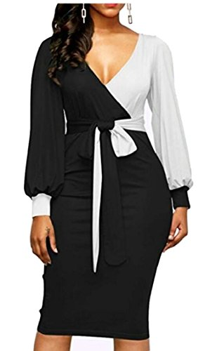 Jaycargogo Womens Sexy Robes Midi Moulantes Profonde Encolure En V Manches Longues Robes Cravate Avant Crayon Colorblock 1