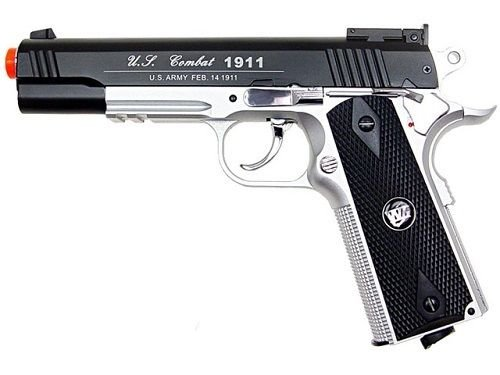 Silver Full Metal - WG Full Metal 1911 Xtreme 45 Non-BlowBack CO2 Airsoft Gun - Silver