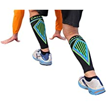 BETTER THAN KT TAPE for SHIN SPLINTS: Seriously Tight CALF COMPRESSION SLEEVES, Guard & protect shins / calves. Prevents swelling, aids muscle recovery. Extreme footless