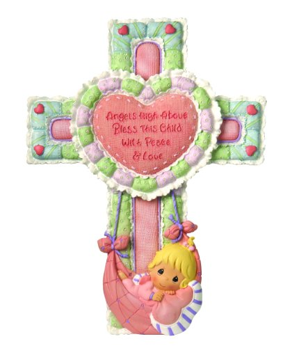"Precious Moments, Baby Gifts, ""Precious Little Blessings"", Resin Cross with Stand, Girl, #102410"