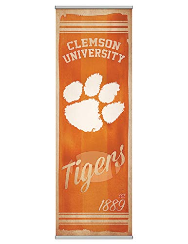 NCAA Clemson University Premium Canvas FanPanel. Instant Decor for Doors, Walls, Hallways. NCAA Gift, Party Decoration, Game Day Prize and Dorm Room Decor 72 inches tall by 24 Inches Wide Easy Install