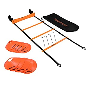 Agility Ladder Cones 20 Feet 12 Adjustable Rungs Fitness Speed Training Equipment + 16 Agility & Exercises Ebook | 2 Carry Bags + 10 Cones + 4 Stakes | Basketball, Soccer, Football
