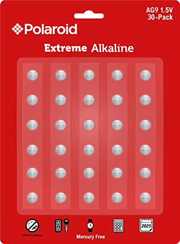 Polaroid Extreme AG9 LR45 LR936 394 380 194 1.5V Button Cell Alkaline Batteries Mercury Free 0% Hg (30-Pack) - 2025 Expiry Date (394 Swatch Battery)